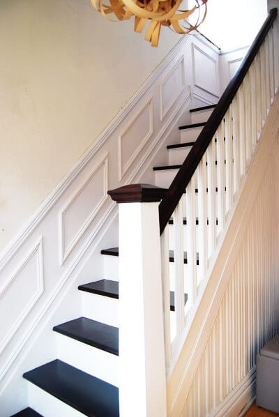 white and mahogany staircase