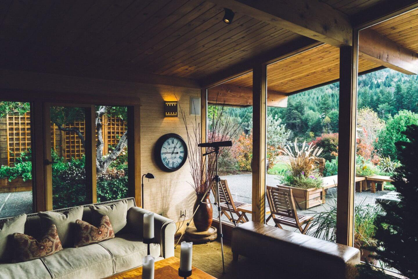 wooden conservatory with glass