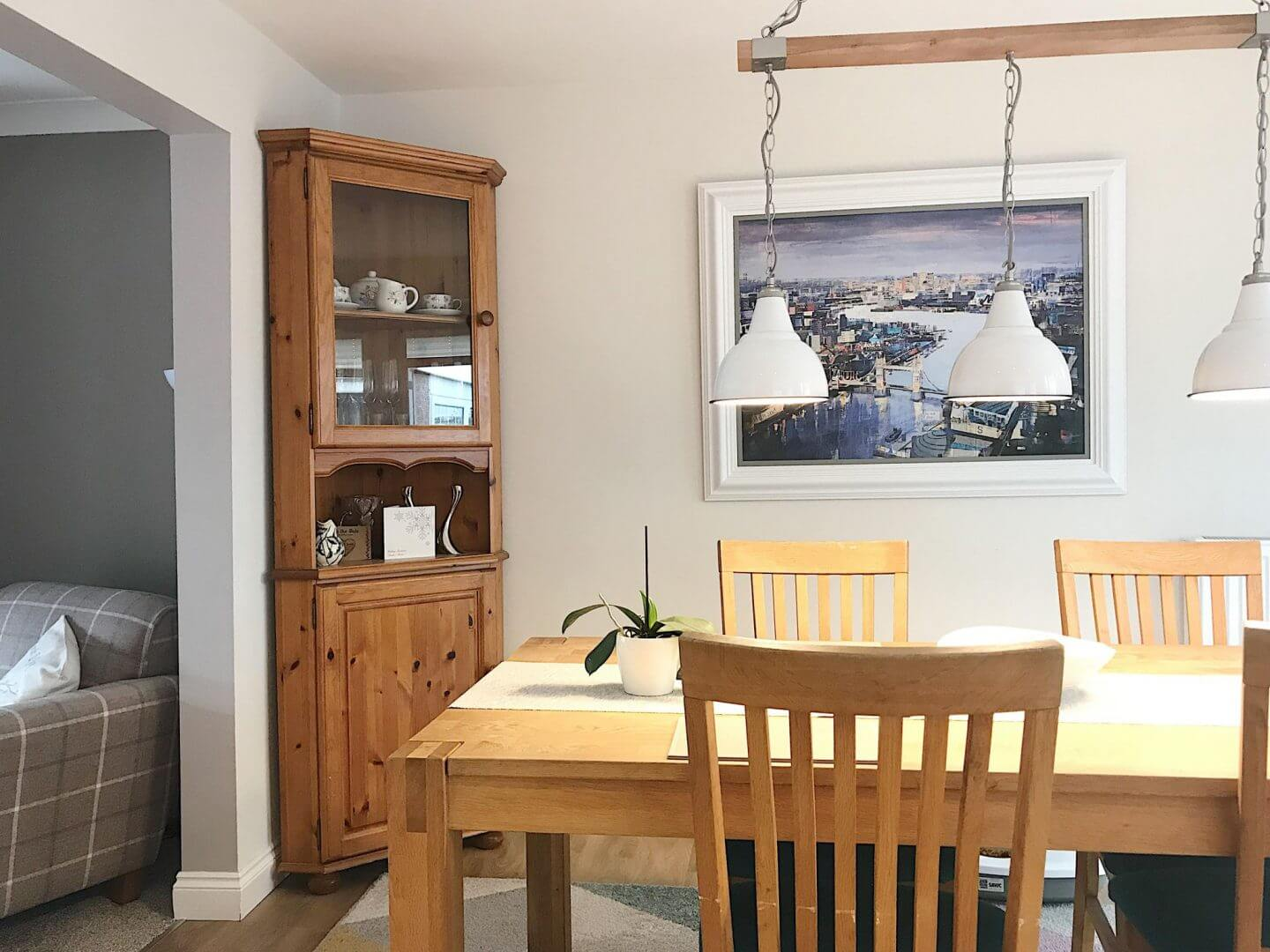 Update your dining room. Our dining room with wooden table and dresses unit