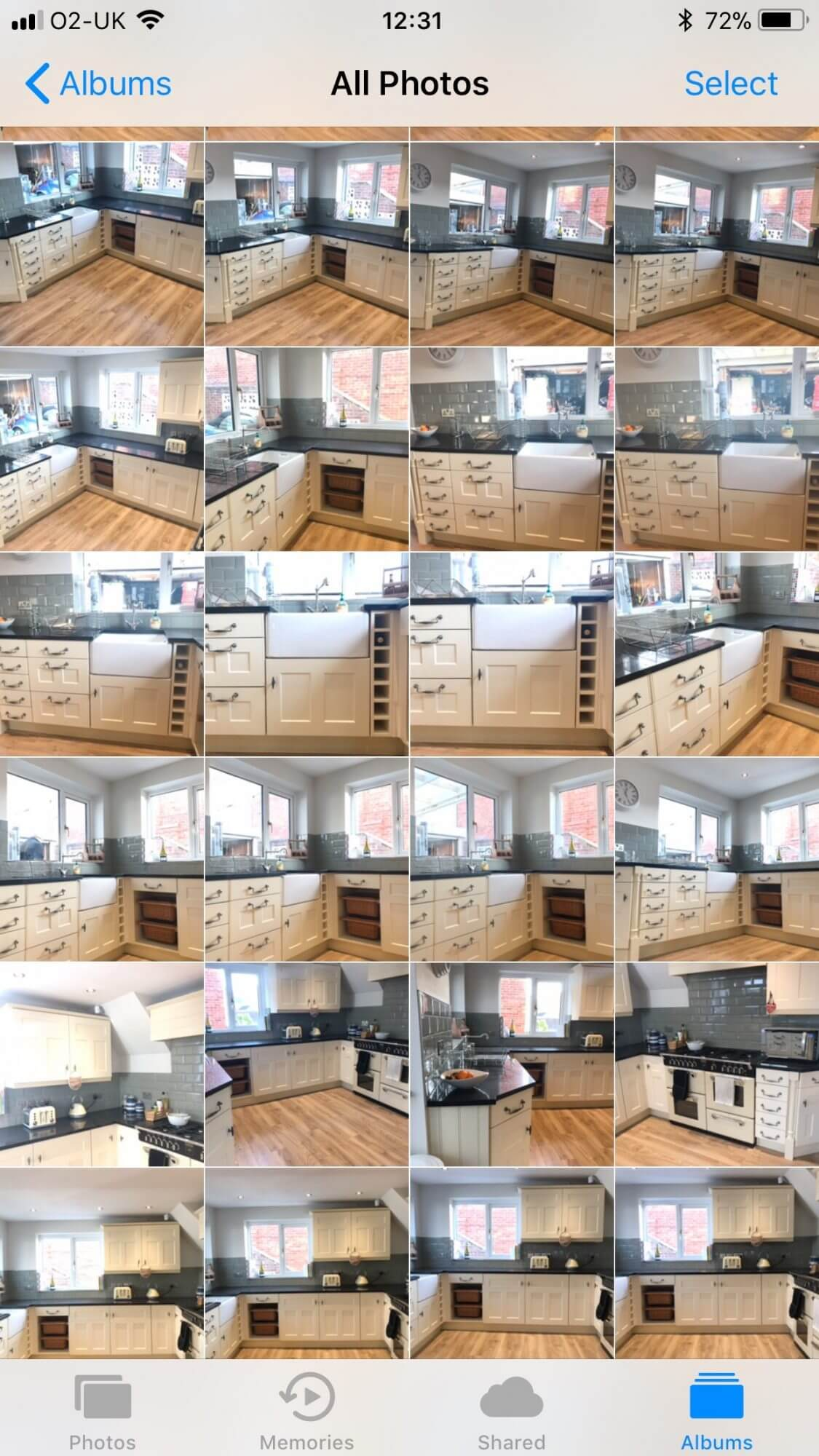 Phone camera reel showing loads of pictures of the same kitchen from tons of different angles