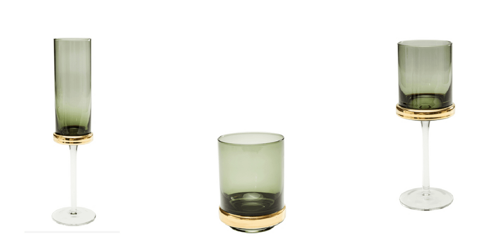 champagne flute, tumbler and wine glass for your Christmas table.
