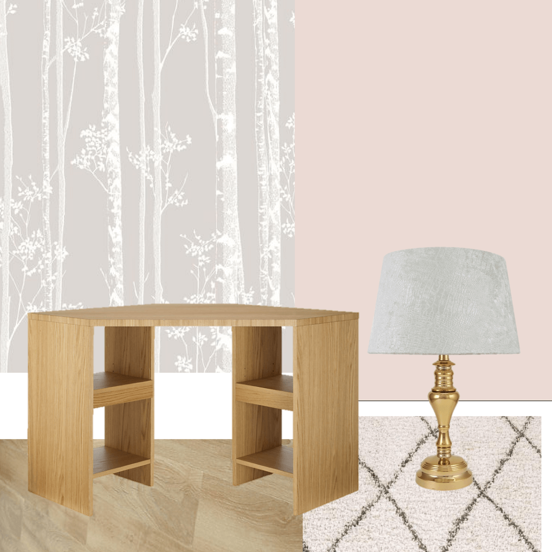 Home office renovation ideas. Photo collage of wallpaper, pink paint, oak desk and wooden floor