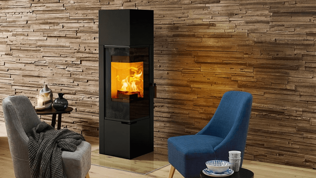 Modern log burner that's tall and narrow with no flue.