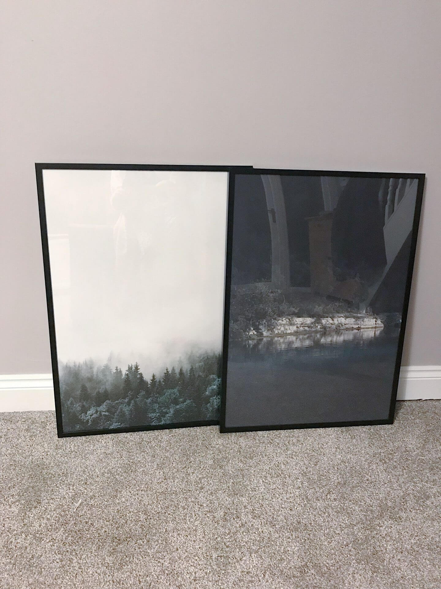 Pair of artwork prints on the floor - forest and green