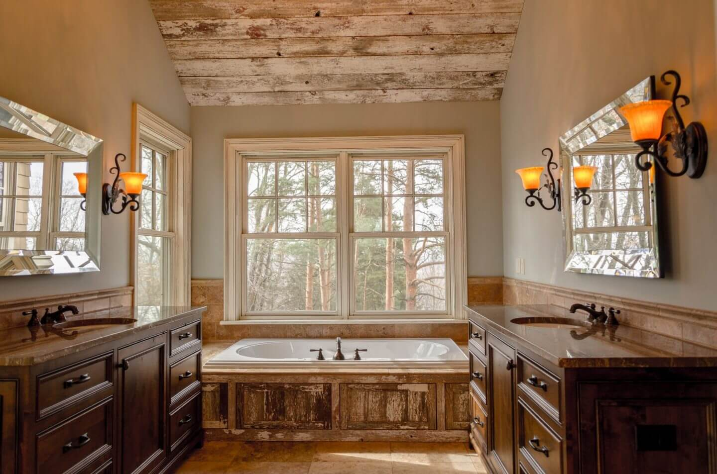 Oriental-style bathroom with raised bath