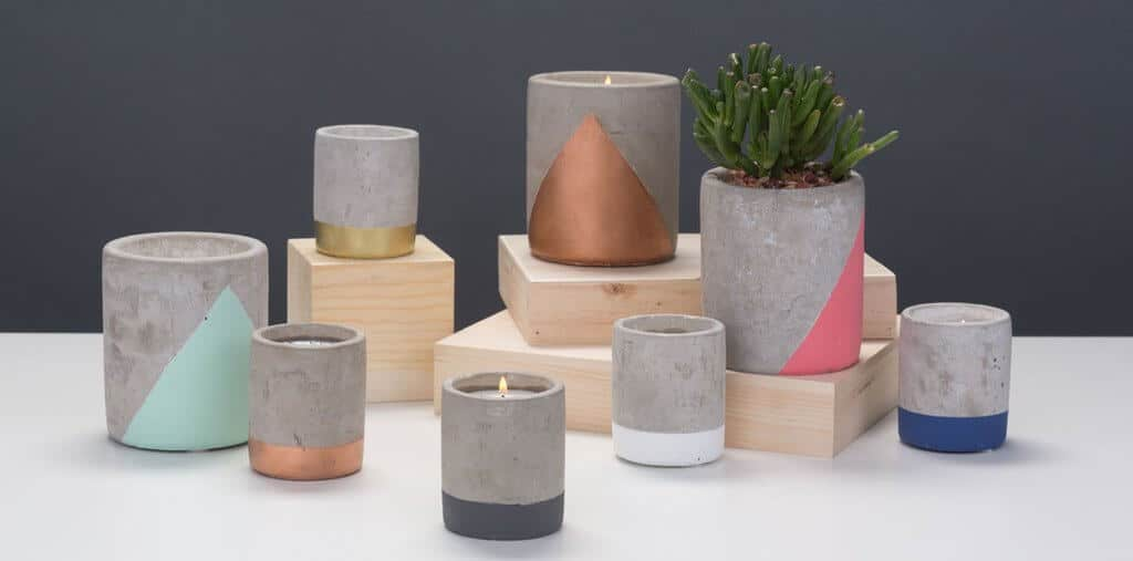 Paddywax candles from Feather and Nest. Concrete candles