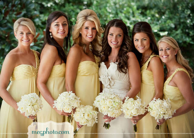 Yellow bridesmaids with bride