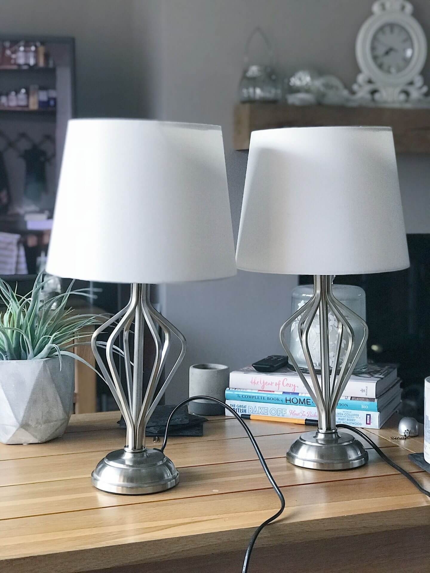 Lamps from First Choice Lighting, white shade and nickel stands and base