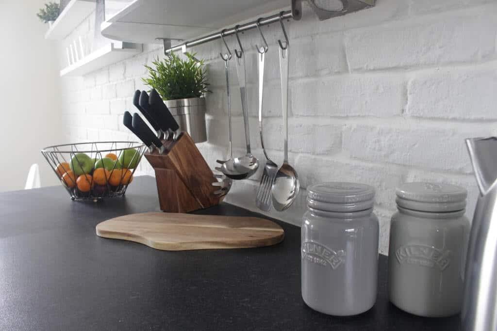 White brick slips in modern kitchen