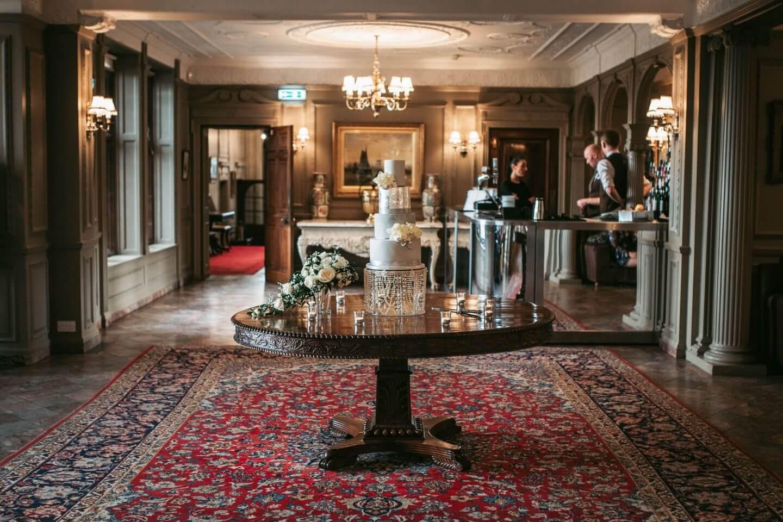 Wedding cake in Thornton Manor great hall