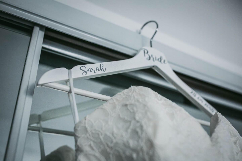 Bridal dress on personalised bride hanger