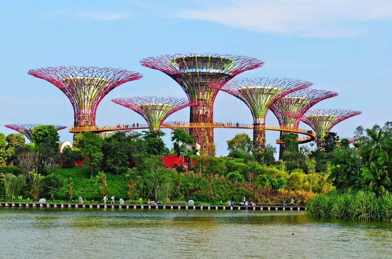 Singapore Bay Gardens image with trees and large bridge around